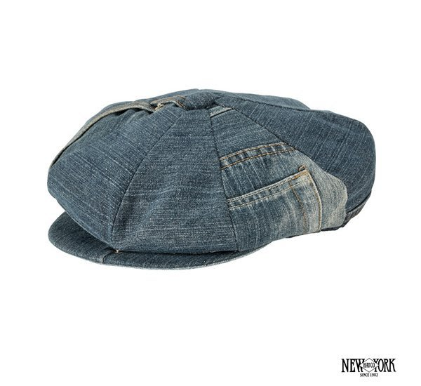 GOODFORIT / New York Hats再製單寧手工拼接八片式報童帽/原色、黑色