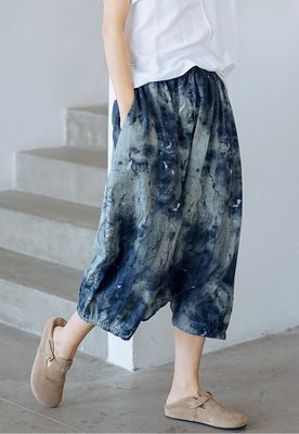 哈倫褲 (WD5135) 實拍夏季清涼舒適文藝風寬鬆大碼棉麻印花燈籠褲 九分褲 有2色
