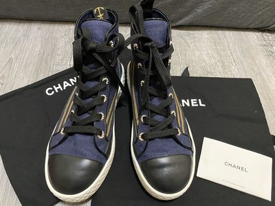 可刷卡 Chanel 香奈兒 海軍風 牛仔布高筒鞋