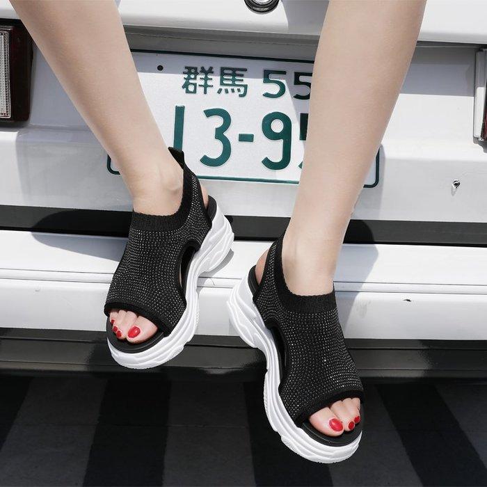Fashion*運動涼鞋 夏季新款網紅休閒厚底松糕彈力針織水鉆涼鞋 套口襪子涼鞋潮