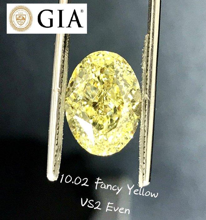 【台北周先生】天然Fancy正黃色鑽石 10.02克拉 淨度VS2 超巨大 Even分布 送GIA證書