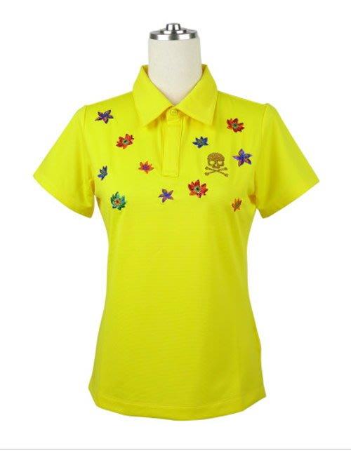 藍鯨高爾夫 與龍共舞 赤壁花刺繡透氣短衫(黃)#D2-175304