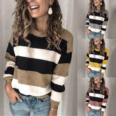 妮妮韓國服飾店~Qiu dong bump color stripe sweater sleeve head loose