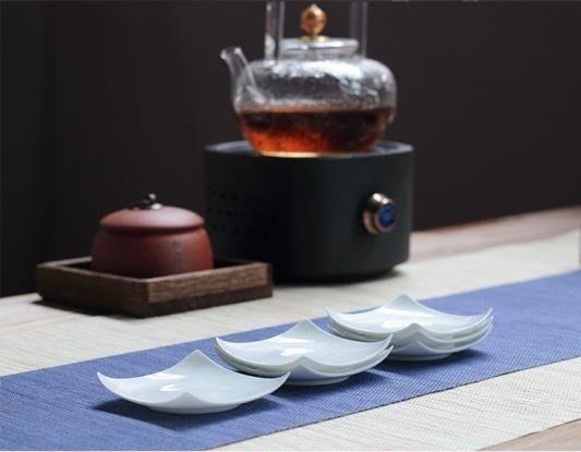 【茶嶺古道】四方薄胎白瓷杯墊 / 四角 薄胎瓷 蛋殼瓷 白瓷 杯墊 杯托 茶道具