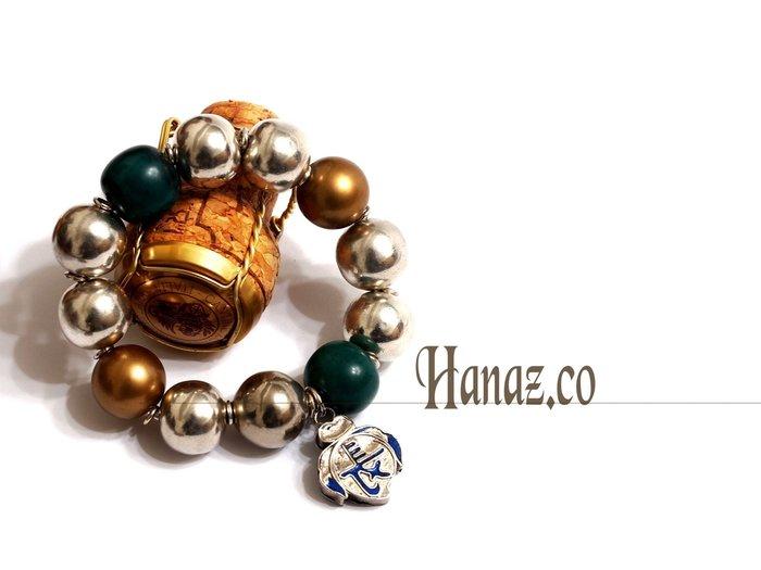 銀囍手作飾物~金珠銀珠 老銀鎖手鍊 手環/老鬆石漂亮/時尚霸氣的代言