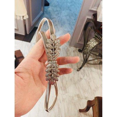 《巴黎拜金女》vintage金色銀色花型彈力細腰帶