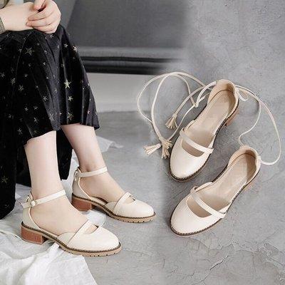 包頭涼鞋女夏2018新款韓版中跟中空粗跟單鞋一字扣兩穿復古學生鞋