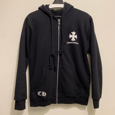 二手M號 CHROME HEARTS CLASSIC CROSS CIRCLE ZIP UP HOODIE 玉米棉內裏