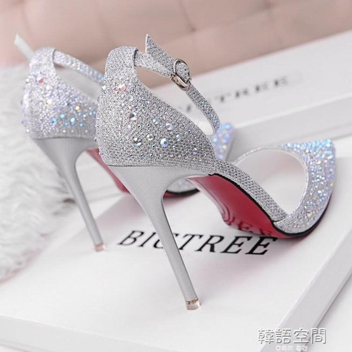 韓版時尚水鉆尖頭銀色少女高跟涼鞋百搭一字扣帶單鞋