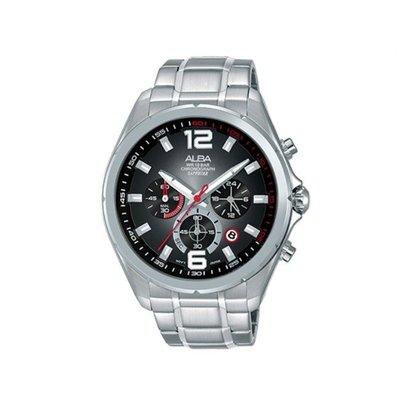 可議價「1958鐘錶城」ALBA雅柏 ACTIVE 男 三眼計時 石英腕錶(AT3B71X1) 44mm