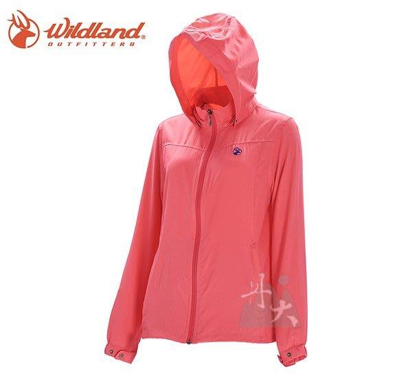 丹大戶外用品 【荒野Wildland】女彈性透氣抗UV輕薄外套 0A71903-16 蜜桃紅