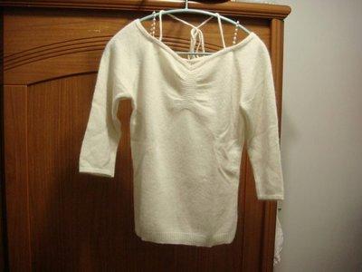 OZOC 白色羊毛七分袖衣