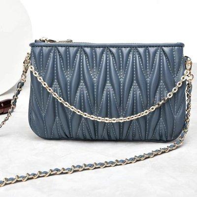 現貨秒出 *NINI Shop* 真皮 羊皮 22cm 三種鏈帶 皺褶小包 (內有6卡夾) - 湛藍 (刷卡/超取付款)