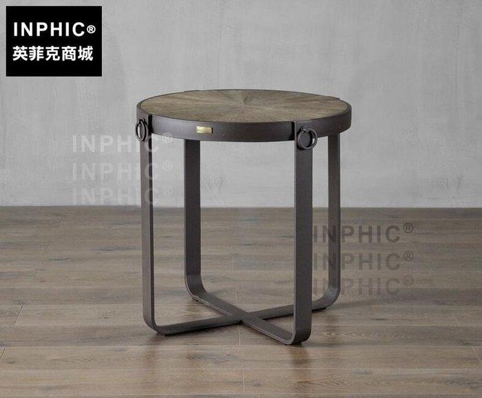 INPHIC-歐式簡約鐵木沙發圓茶几 工業風客廳陽臺創意休閒復古小咖啡桌-A款_S1910C