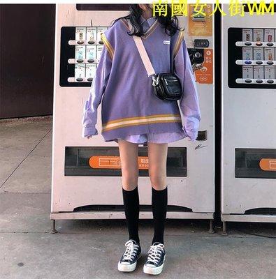 南國女人街WM時尚套裝女秋冬季正韓撞色寬松針織馬甲+學院風中長款襯衫兩件套