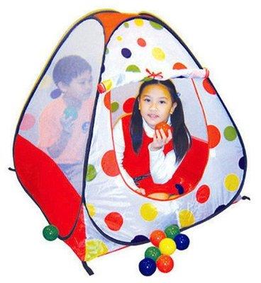 臺灣製造~寬敞安全玩樂空間~帳棚造型球屋~內附100顆彩色球球~可收納攜帶方便
