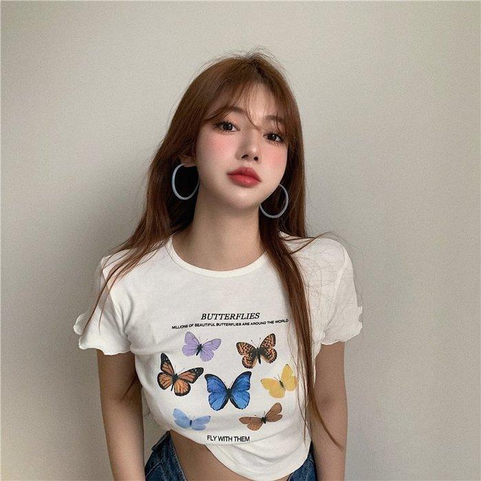 ❤Princess x Shop❤蝴蝶印花短袖T恤女修身短款百搭上衣TA30-36-2女裝韓國同款