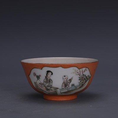 【三顧茅廬 】民國淺降彩紅釉開窗美人圖瓷碗 民間家藏古瓷器古玩古董收藏品