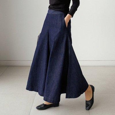 寬管褲闊腿褲 顯瘦遮肉鬆緊腰闊腿褲裙牛仔褲 艾爾莎【TAK8744】