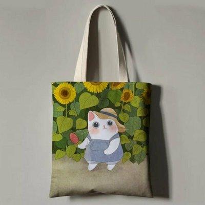 【雅比斯小舖】日系貓咪布包 肩揹布包  超可愛貓咪手提布包 環保購物袋 四號款