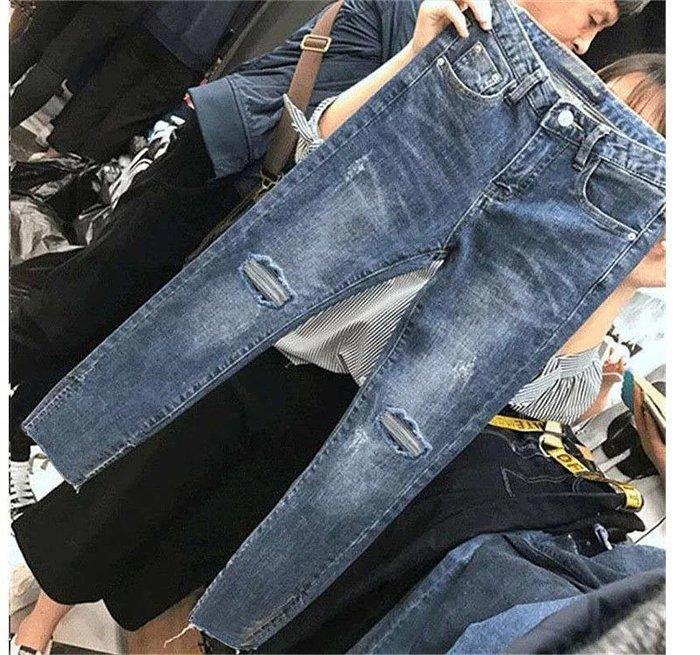 韓 實拍 顯瘦質感九分牛仔褲 尺碼 S-2XL 現+預 P0020 ~娜塔莉公主~