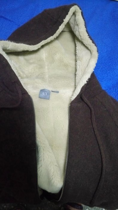 Armani Exchange A/X 咖啡色連帽毛衣外套 S號