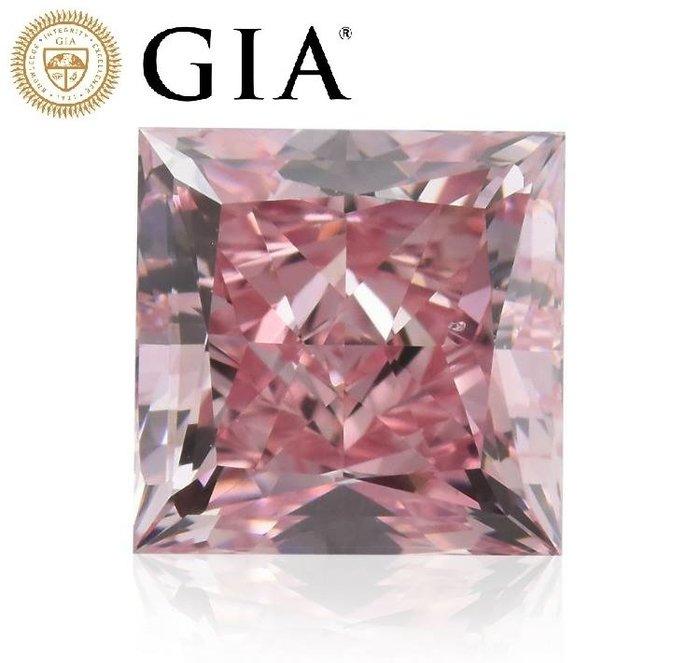 【台北周先生】天然Fancy intense正粉色鑽石 1.45克拉 Even VS2 公主方切割 送阿蓋爾+GIA證書