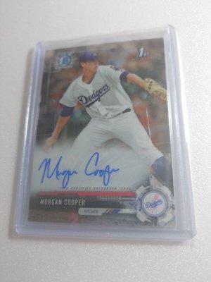 道奇隊強力新秀MORGAN COOPER新人RC卡面簽名卡一張~300元起標