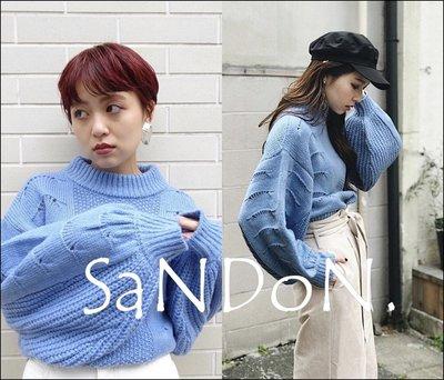SaNDoN x『SLY』早春新款 燈籠簍空針織泡泡袖長袖上衣毛衣 MOUSSY 韓妮 180112