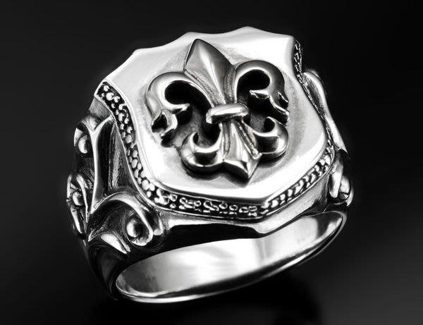 【創銀坊】皇家 鳶尾花 925純銀 戒指 盾牌 劍 哈雷 騎士 十字架 克羅心 搖滾 龐克 重機 戒子 (R-5603)