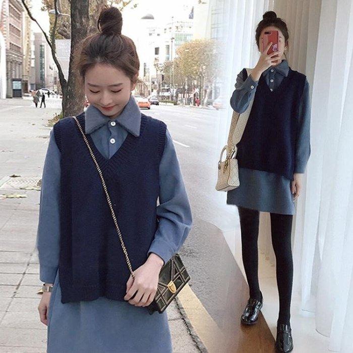 2018新款針織背心馬甲學生襯衫女軟妹毛衣配裙子兩件套裝秋冬季潮