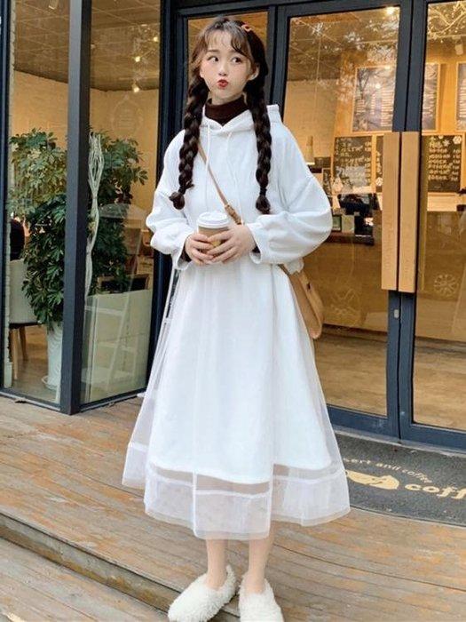 網紗裙 連身裙女秋冬季女裝加絨寬鬆連帽中長款過膝網紗衛衣裙子