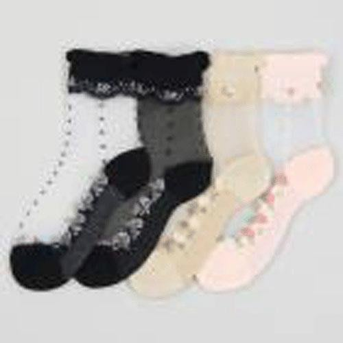 ◎Life Sense◎【日本製】女用透明刺繡造型襪 短襪 蕾絲短襪 造型襪 襪子 23-25 cm 140850
