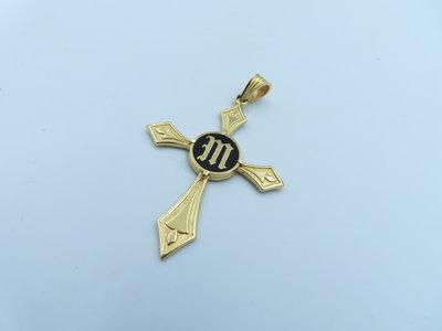 %玉承珠寶%14KM字琺瑯十字架墜子B102(耶穌基督.天主教.星座)