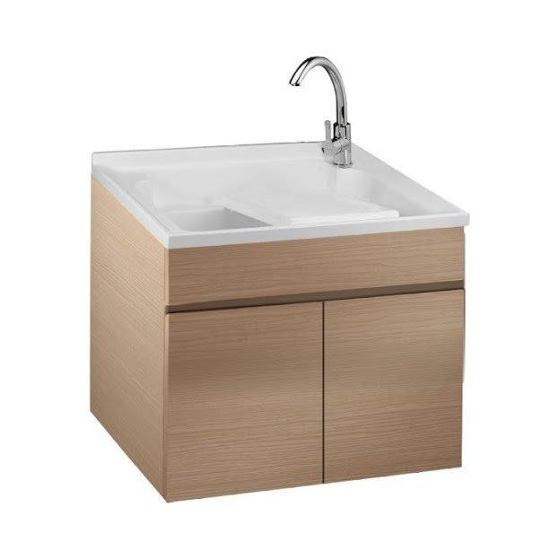 《101衛浴精品》台灣製造 100%全防水 80cm 雙槽 人造石洗衣槽 白橡木壓花木紋浴櫃組 LCW-80【免運費】