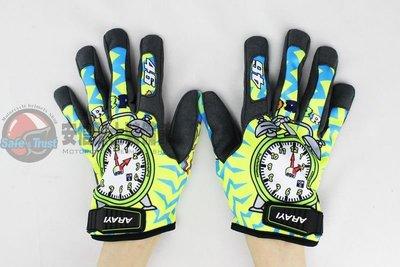 [安信騎士] ARAYI AGV式樣 彩繪手套 F-001 時鐘 短版 透氣 防曬 手套 桃園市