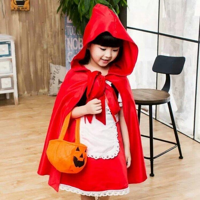 ZN 萬聖節派對cosplay兒童化妝舞會變裝派對小紅帽公主裙 連身裙 洋裝 圍裙  連帽披風 圍裙 南瓜糖果袋現貨