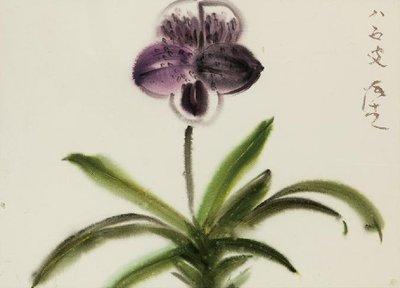 [客人寄賣] 張杰 紫花 74X54cm (水彩、水墨、彩墨、上海、浙江、當代、藝術、荷花、席德進)