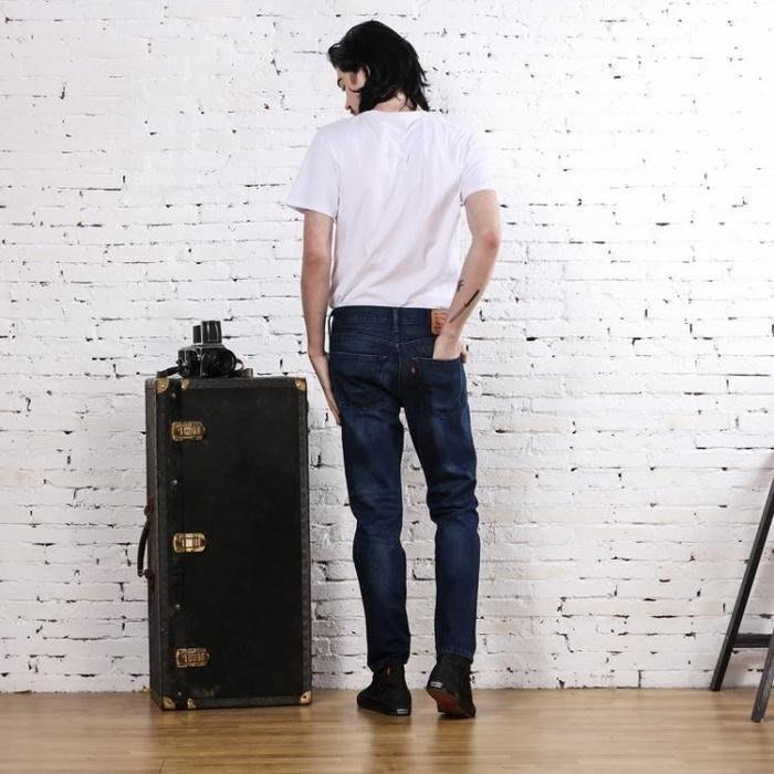 賠售【破壞加工W33=34腰現貨】美國LEVI S 522 512 Slim Taper 深黑藍重磅錐型合身小直筒牛仔褲
