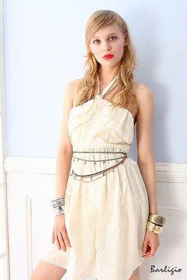 【Barligio】希臘女神.纏繞肩帶.露背洋裝-希臘米白(熱賣款)