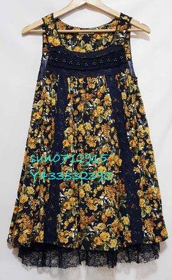 axes femme 春夏 橘色花朵深藍蕾絲無袖洋裝(M)