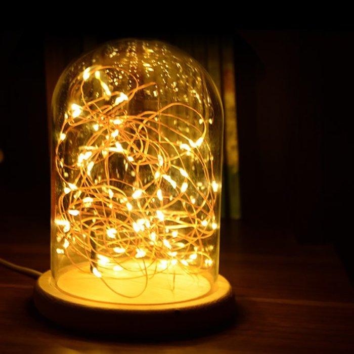 火樹銀花實木玻璃罩夜燈9*26+2米20只灯☆ VITO zakka ☆LED燈泡 星光燈 臥室床頭燈