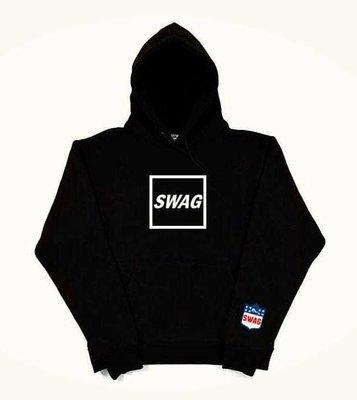 歐美 SWAG LOGO 內刷毛 帽T 嘻哈 饒舌 HIP HOP 黑白灰3色  尺寸:S~3XL