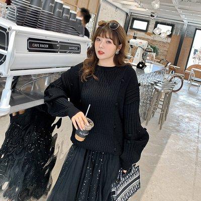 ✿plump girl ✿大尺碼女裝11/30新品~毛球坑條毛衣ST301