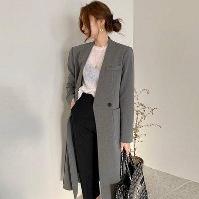 長大衣外套  秋裝簡約流線型英倫風長版...