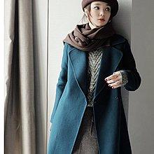 『 筱涵 日系美學衣飾 』皇妃的品格凱特英式極簡雙排扣腰帶手工雙面呢顯白孔雀綠羊毛大衣