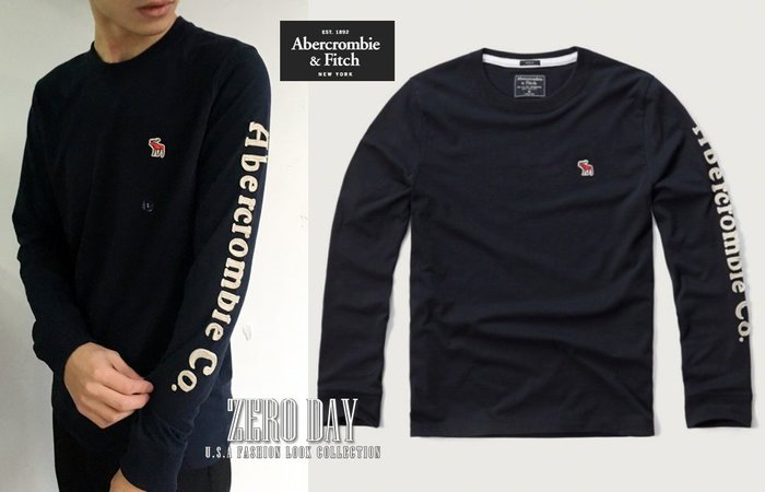 【零時差】A&F Abercrombie&Fitch Applique Logo Graphic Tee側袖字母麋鹿T藍
