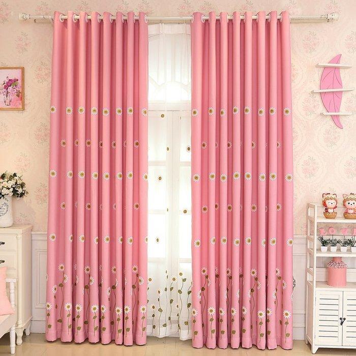 創意 居家裝飾 簡約清新田園風太陽花棉麻繡花粉色窗簾遮光兒童房臥室窗簾布紗簾