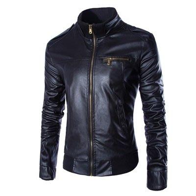 皮衣 外套 皮夾克-純色立領修身簡約男外套3色73ua26[獨家進口][米蘭精品]