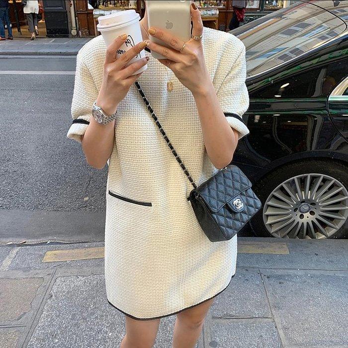 限時早鳥價到4/28調回原價1250洋裝 小香風撞色粗花毛呢連身裙 艾爾莎【TAE8293】